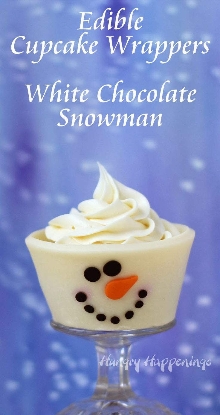 Wrap your cupcakes in white chocolate wrappers instead of paper. These adorably cute snowmen are completely edible. See how to make them at Hungry Happenings.