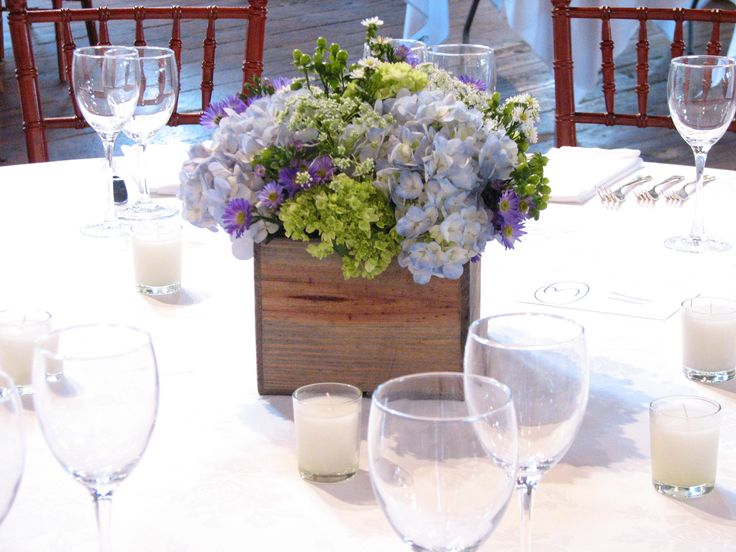 Blue And Green Hydrangea Centerpiece : Blue hydrangea wedding centerpieces grey washed box