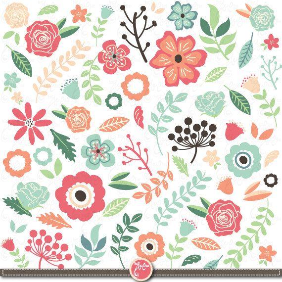 "Wedding Flora Clipart pack ""WEDDING FLORA""clip art,Vintage Flowers,Flowers Floral Flourishes Leaves Elements Damask Wedding invitation Wd025, $5.00"