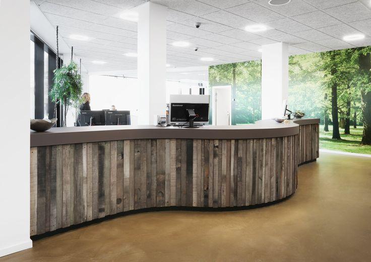Housing association AAB in Silkeborg, Denmark. - Desktop: 4172 Mauve.  – Reception desk, Desktop, Furniture Linoleum, Forbo, Interior design, Recycled wood