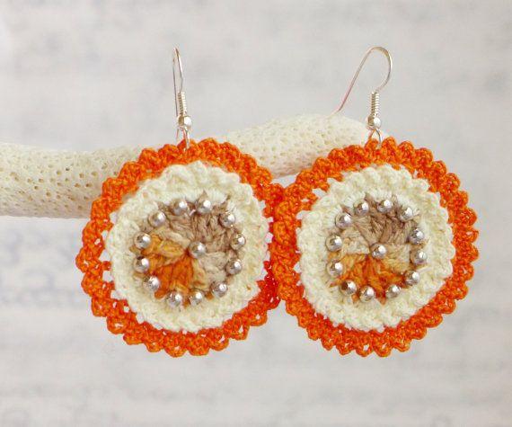 Crochet earrings, hand dyed silk yarn, metal beads