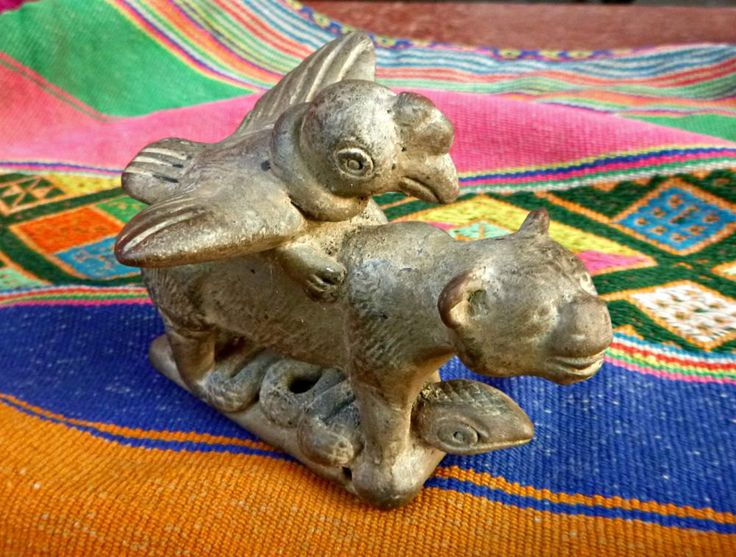 Handmade Vintage Peruvian Ceremonial Ceramic Flute With Andean Trinity The Condor Puma and Snake, Shaman Altar Spiritual Flute - pinned by pin4etsy.com