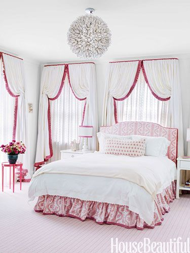 girls bedroom Simple banding on drapery gives a custom finish that can be changed in the future.