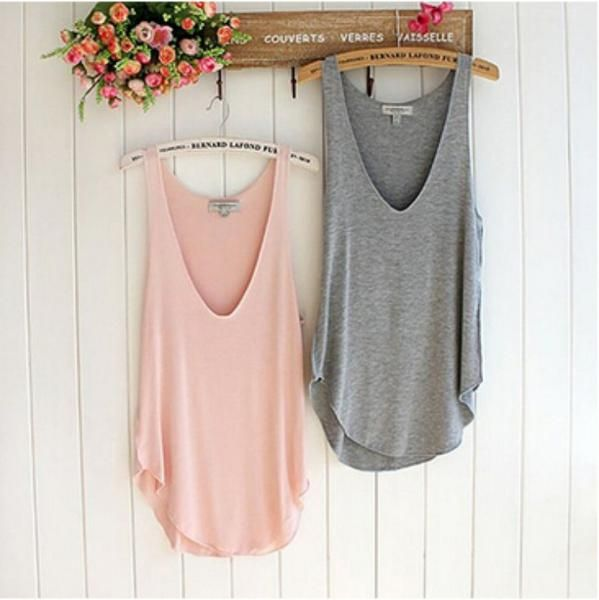 Fashion Summer Woman Lady Sleeveless V-Neck Candy Color Vest Loose Tank Tops Summer Style