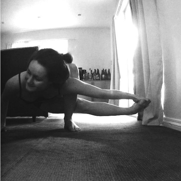Yoga pose practice. Black and white photography. Strength training.