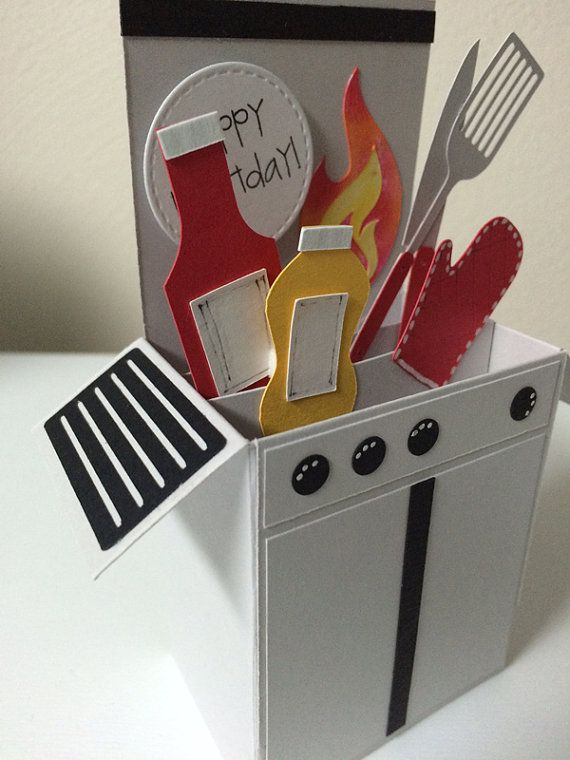 Grilling Barbeque (BBQ) Birthday Card in a pop up box