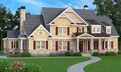 HOUSE PLAN 009-00091 – A strong architectural exterior façade and plenty of interior living space is found in this Craftsman house design. There is an unfinished basement foundation which mirrors the first floor; great expansion space for a large family. Five bedrooms, four plus baths, an overhead loft and large family rooms are highlighted in the approximate 4,405 square feet of living space.