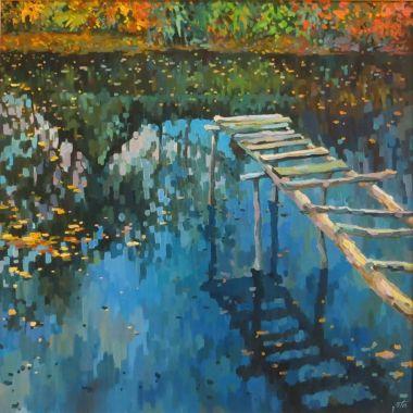 Зеркало сентября | Осень пруд мост | Купить картину у художникаVita