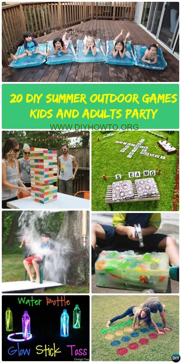20 #DIY Summer #Outdoor Games Wild Party For Kids and Adults: DIY Games for Outdoor and Backyard fun and Party Activities for Summer Party.