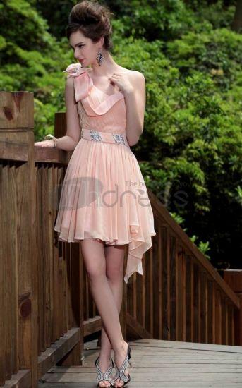 Pale Robe De Gala rose Robe De Gala courte de demoiselle d'honneur robes