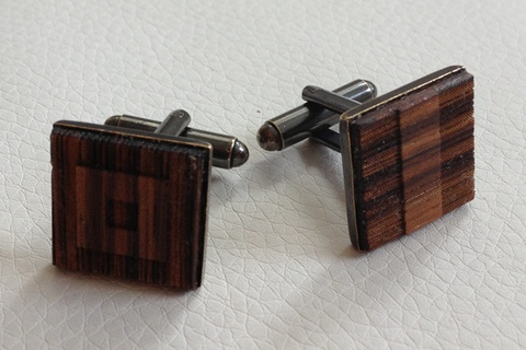 Cufflinks - Tango Whiskey. Lasercut signal flags in Zebrawood and antique brass hardware with a gun metal finish $70