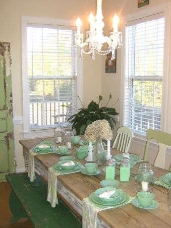 A Jadite Lovers Kitchen! A Collectors Kitchen! Shabby Chic Vintage Farmhouse Design, Jadite, Jadeite, Vintage Decor, Shabby Chic, French far...