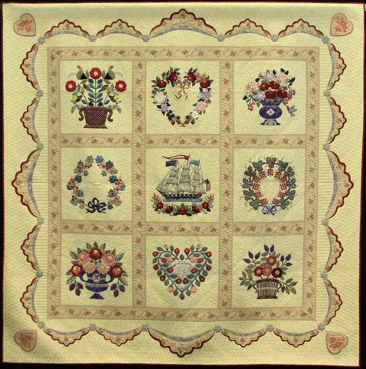 Love's Horizon , Made By Evelyn Crovo-Hall and quilted by by Anita Shackelford. 1st place - duet quilt - large, 2013 NQA show