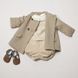 Classic baby coat. Cream jumper and velvet bloomers. Soft shoes. pepaandcompany