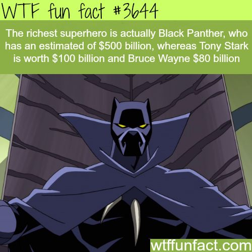 WTF Facts : funny, interesting & weird facts — The richest superhero is not Tony Stark or Bruce...
