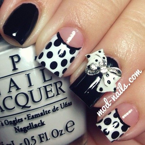 Black and White Dot and bow nail art