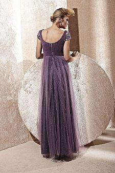 Vestidos Online - vestido 2766 - lindo vestido de festa lilas com aplicacoes em pedraria