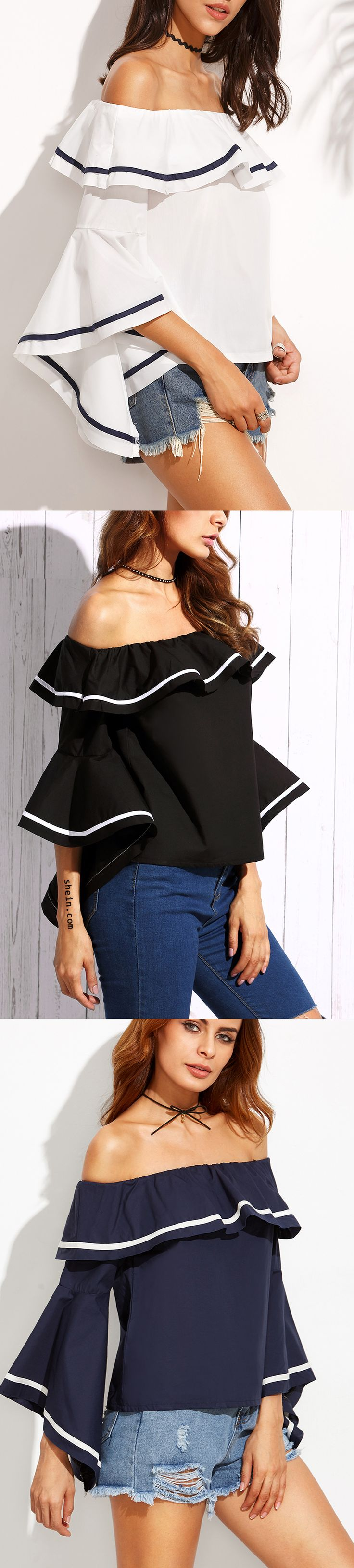 Hot! - Elegant Striped Trim Ruffle Off Shoulder Top from shein. 40% off 1st order!