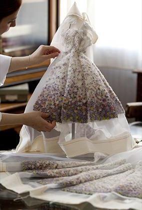 floral dress. Dior at Harrods - Mini Fashion Theatre
