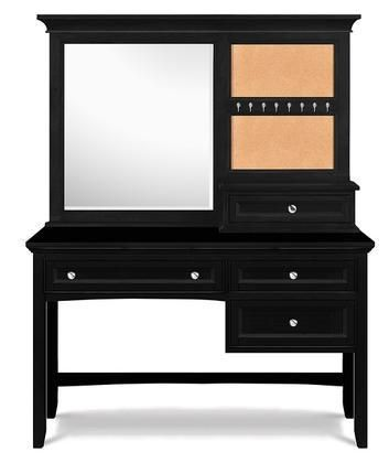 Y1874-48 Bennett Next Generation Youth Desk with Vanity Mirror in Black Finish