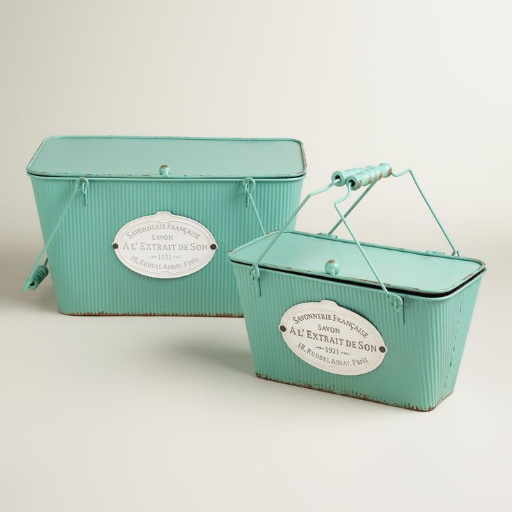 Aqua Metal Marcie Boxes with Lid | World Market //// I do think these would be perfect for the laundry area to hold washing machine cleaner, samples, and dryer sheets for example. =3