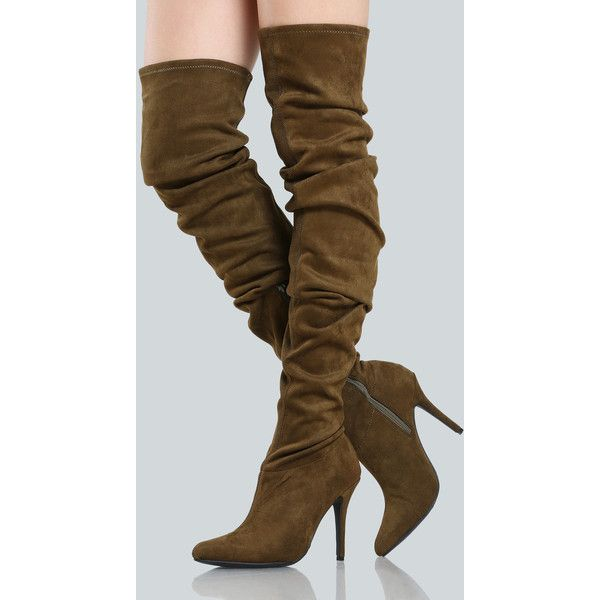 SheIn(sheinside) Faux Suede Ruched Thigh Highs MOCHA ($48) ❤ liked on Polyvore featuring shoes, boots, brown, over the knee high heel boots, faux suede thigh high boots, brown boots, thigh high boots and brown thigh high boots
