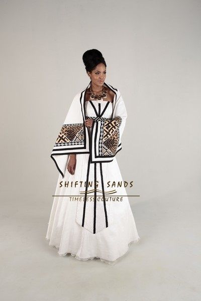 Lauren - Shifting Sands Traditional African Xhosa inspired ball gown with front panel beading and African print Shaw.