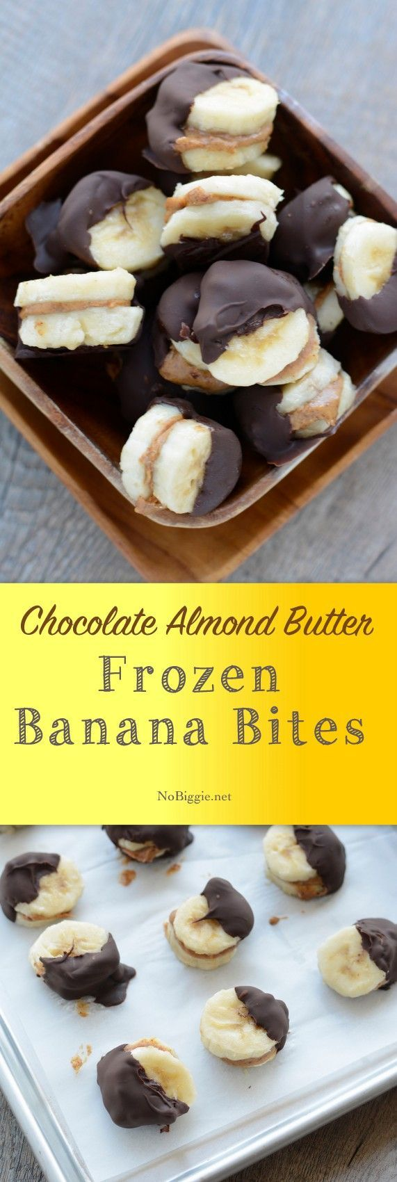 chocolate + almond butter banana bites #snackattack