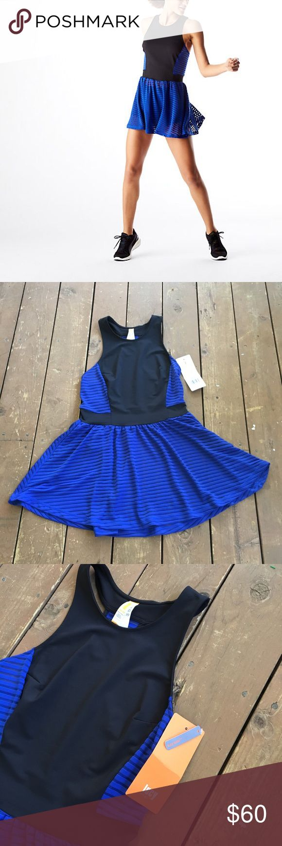 ⚡️SALE⚡️ NWT Lucy dress Blue with mesh stripe. Athletic material, pockets on sides Lucy Dresses Mini