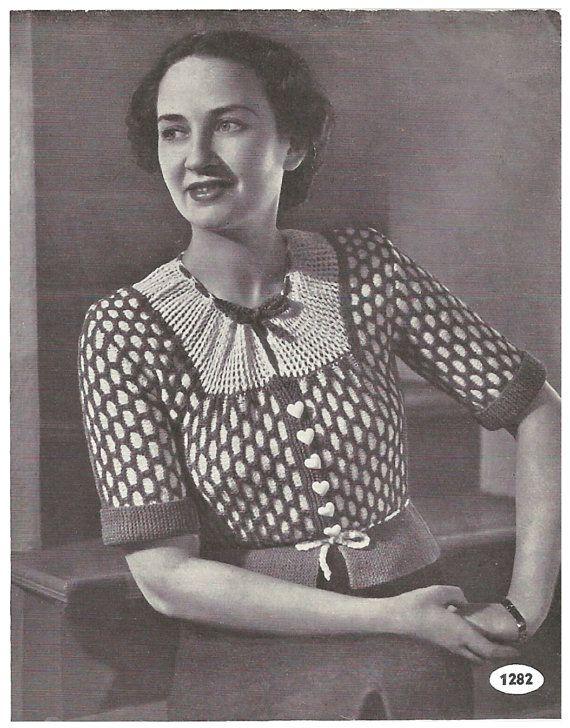 1930s Knitting Pattern for Womens Tyrolean Cardigan / Blouse - 35 in bust 90 cm  - Digital PDF