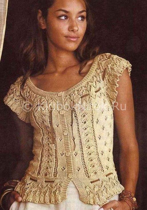 Ажурная летняя кофта | Вязание для женщин | Вязание спицами и крючком. Схемы вязания.