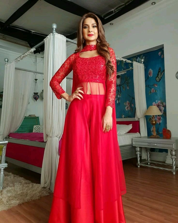 Pin By Vs On Jennifer Winget Indian Fashion Dresses Red Colour Dress Indian Gowns Dresses