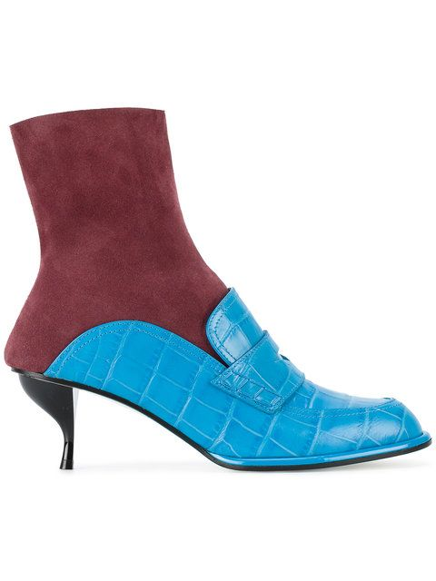 LOEWE Mid-Heel Loafer Sock Boots. #loewe #shoes #flats