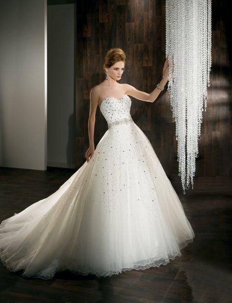 Ilissa Style 525 by Demetrios www.demetriosbride.com .::Beaded, tulle wedding dress with A-line