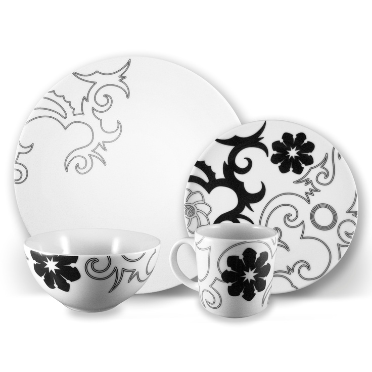 Ink Dish Tribal Lines Collection Dinnerware #black and #white  sc 1 st  Pinterest : white and black dinnerware - pezcame.com