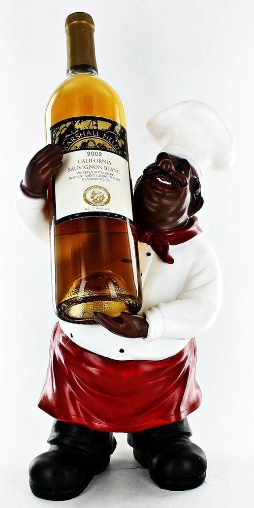 Fat Chef Kitchen Black African American Statue Wine Bottle Holder Figure D64183
