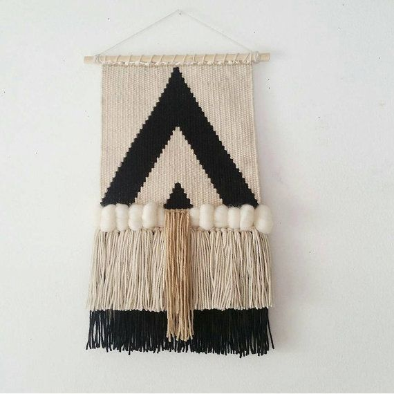 Woven Wall Hanging, Handmade Tapestry, Mid Century Modern, Macrame Wall Hanging,  Black and White Triangles