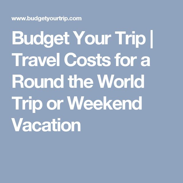 Budget Your Trip | Travel Costs for a Round the World Trip or Weekend Vacation