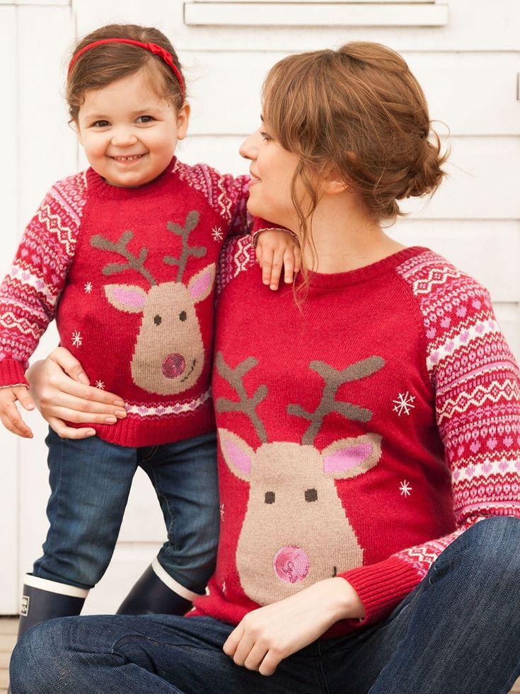 Red Reindeer Maternity Christmas Sweater | JoJo Maman Bébé