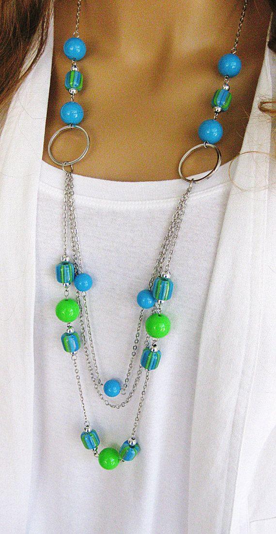 Collana lunga blu e verde perline collana collane di perline
