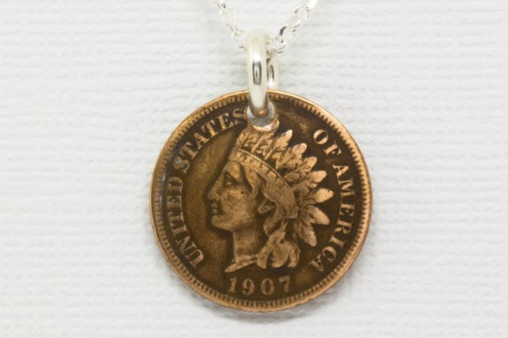 Pendant Handmade from Vintage Indian Head Penny with Solid Sterling Silver Chain