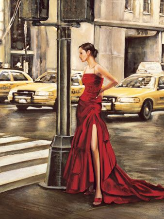 Red dress, yellow taxi will travel...(Woman in New York ~ Art Print by Edoardo Rovere)