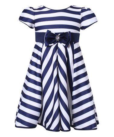 Love this Navy Stripe Party Dress - Toddler & Girls on #zulily! #zulilyfinds