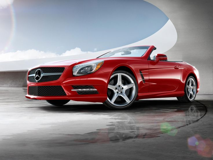 Mercedes Benz SL Class Roadster In Mars Red With AMG Wheels.