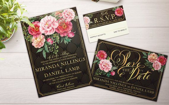 Black and Gold Floral Glam Wedding Suite; Invitation; Custom; Downloadable PDF; Roses; Art Deco