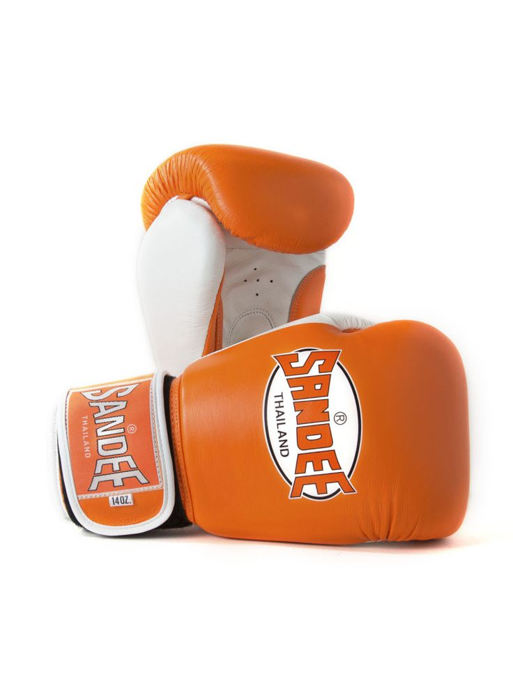 Sandee Fluro Authentic Velcro Leather Boxing Gloves - Orange & White