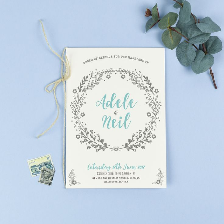 Order Of Service Willow Rustic Wreath Wedding Invitations West Midlands