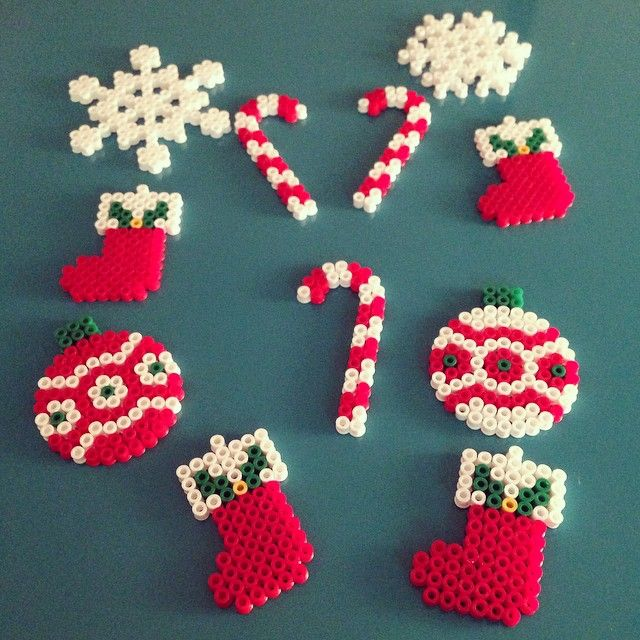 Christmas ornaments hama perler beads by morphin15