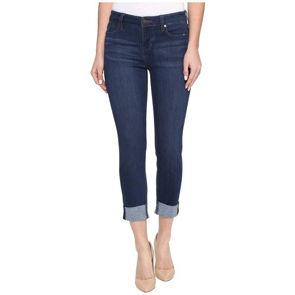 Liverpool Charlie Wide Cuff Capris Premium Stretch Denim in Lakewood... ($89) ❤ liked on Polyvore featuring jeans, zipper skinny jeans, blue skinny jeans, stretch denim capris, wide leg capri jeans and blue capri