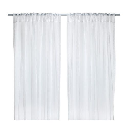 Cut length to size make canopy curtains. TERESIA Sheer curtains, 1 pair, white white 57x98